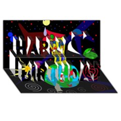 Colorful universe Happy Birthday 3D Greeting Card (8x4)