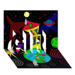 Colorful universe GIRL 3D Greeting Card (7x5)