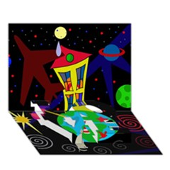 Colorful universe LOVE Bottom 3D Greeting Card (7x5)