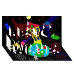 Colorful universe Best Wish 3D Greeting Card (8x4)