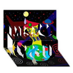 Colorful universe Miss You 3D Greeting Card (7x5)