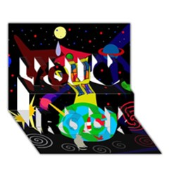 Colorful universe You Rock 3D Greeting Card (7x5)