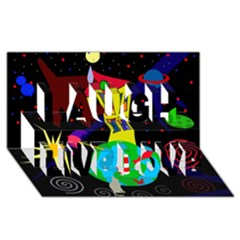 Colorful universe Laugh Live Love 3D Greeting Card (8x4)