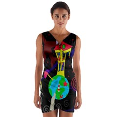 Colorful Universe Wrap Front Bodycon Dress