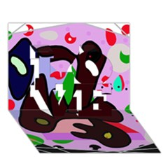 Decorative abstraction LOVE 3D Greeting Card (7x5)