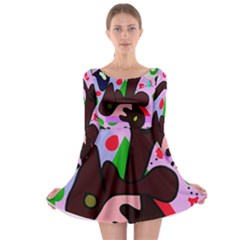 Decorative abstraction Long Sleeve Skater Dress