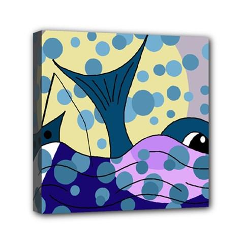 Whale Mini Canvas 6  x 6