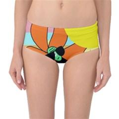 Sunflower on sunbathing Mid-Waist Bikini Bottoms