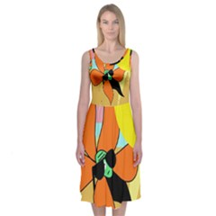 Sunflower On Sunbathing Midi Sleeveless Dress