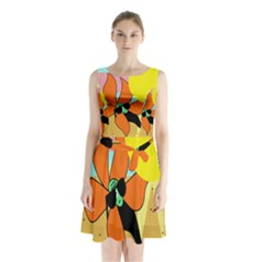 Sunflower On Sunbathing Sleeveless Chiffon Waist Tie Dress