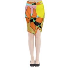 Sunflower on sunbathing Midi Wrap Pencil Skirt