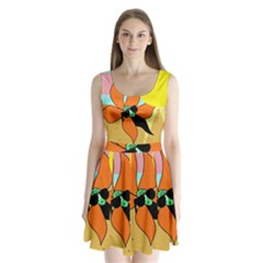 Sunflower on sunbathing Split Back Mini Dress