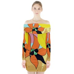 Sunflower on sunbathing Long Sleeve Off Shoulder Dress