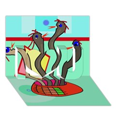 Dancing  snakes I Love You 3D Greeting Card (7x5)