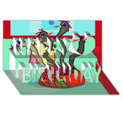 Dancing  snakes Happy Birthday 3D Greeting Card (8x4)