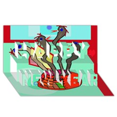 Dancing  snakes Happy New Year 3D Greeting Card (8x4)