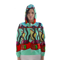 Dancing  snakes Hooded Wind Breaker (Women)
