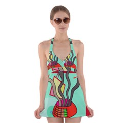 Dancing  Snakes Halter Swimsuit Dress