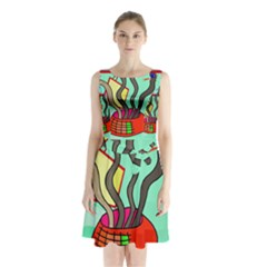 Dancing  snakes Sleeveless Chiffon Waist Tie Dress