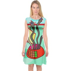 Dancing  Snakes Capsleeve Midi Dress