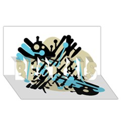 Abstract decor - Blue BEST SIS 3D Greeting Card (8x4)