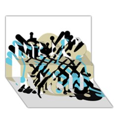 Abstract decor - Blue Miss You 3D Greeting Card (7x5)