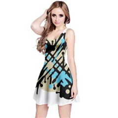 Abstract decor - Blue Reversible Sleeveless Dress