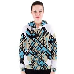 Abstract decor - Blue Women s Zipper Hoodie