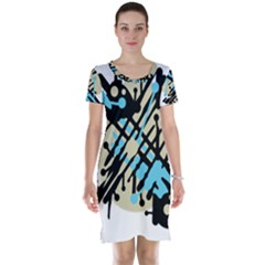Abstract decor - Blue Short Sleeve Nightdress
