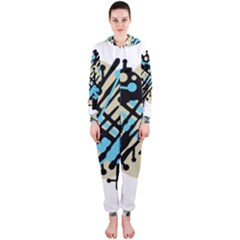 Abstract decor - Blue Hooded Jumpsuit (Ladies)