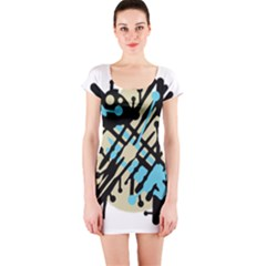 Abstract decor - Blue Short Sleeve Bodycon Dress