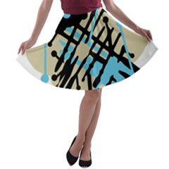 Abstract decor - Blue A-line Skater Skirt