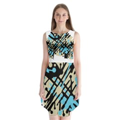 Abstract decor - Blue Sleeveless Chiffon Dress
