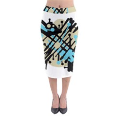 Abstract decor - Blue Midi Pencil Skirt