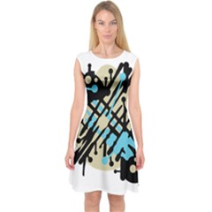 Abstract decor - Blue Capsleeve Midi Dress