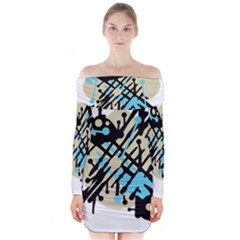 Abstract decor - Blue Long Sleeve Off Shoulder Dress