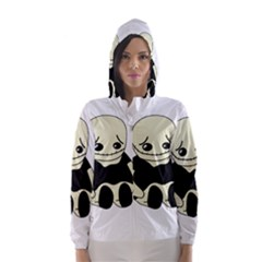 Halloween sad monster Hooded Wind Breaker (Women)