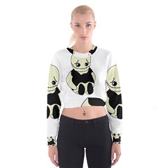 Halloween Sad Monster Women s Cropped Sweatshirt