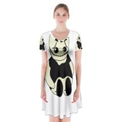 Halloween sad monster Short Sleeve V-neck Flare Dress