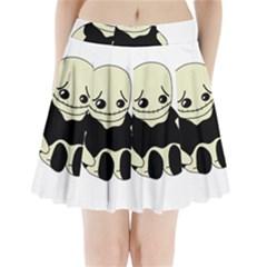 Halloween sad monster Pleated Mini Skirt