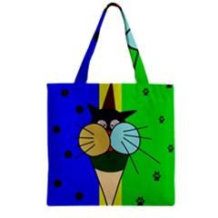 Ice cream cat Zipper Grocery Tote Bag