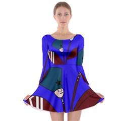 Soldier flowers  Long Sleeve Skater Dress