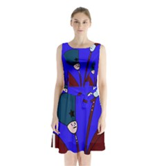 Soldier flowers  Sleeveless Chiffon Waist Tie Dress