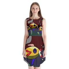 Fish Sleeveless Chiffon Dress