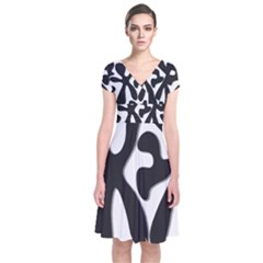 Black and white dance Short Sleeve Front Wrap Dress