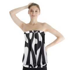 Black And White Dance Strapless Top
