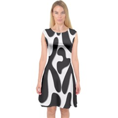 Black And White Dance Capsleeve Midi Dress