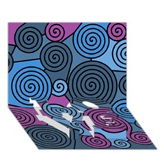 Blue hypnoses LOVE Bottom 3D Greeting Card (7x5)