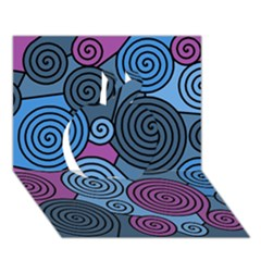 Blue hypnoses Apple 3D Greeting Card (7x5)