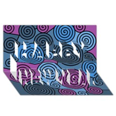 Blue hypnoses Happy New Year 3D Greeting Card (8x4)